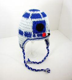 R2D2 Earflap Hat, Blue Gray Star Wars Beanie send size baby - adult