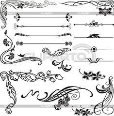 Art Nouveau corners and ornaments - Vector Graphics