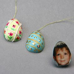 Make these decorated hanging eggs for an Easter display tree featuring your family