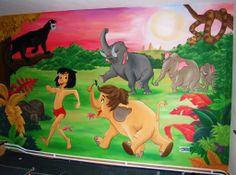 Muurschildering met landschap uit Jungle Book on Lizart  http://lizart.be/wp-content/uploads/muurschilderingen-jungle-book/muurschildering-jungle-book.jpg