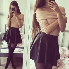Beautiful Business Casual Attire for the Ladies For any graduates or recent professionals who are about to start working or working already and need some ideas about the appearance of a casual b… Cute Fall Outfits, Girly Outfits, Classy Outfits, Trendy Outfits, Skater Skirt Outfit, Skirt Outfits, Mode Outfits, Fashion Outfits, Leather Skater Skirts