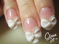 These little bows are fabulous for wedding day nails or even bridal shower nails. Let people know its your special day when they come of to congratulate you. Wedding Day Nails, Wedding Manicure, Wedding Nails Design, Bridal Nails, Jamberry Wedding, Fancy Nails, Love Nails, How To Do Nails, Pretty Nails