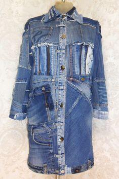 Diy Clothes Refashion, Denim Handbags, Denim Patchwork, Recycled Denim, Ripped Denim, Coats For Women, Street Style, Purses, Boho