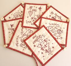 Christmas Stitchery banner~ I think this would be relaxing to stitch during the holiday season, and enjoyable for years to come as a banner to decorate.