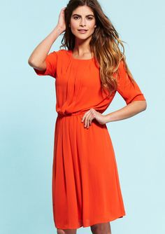 BCBGMAXAZRIA Elbow Sleeve Dress with Pleated Details $99.99