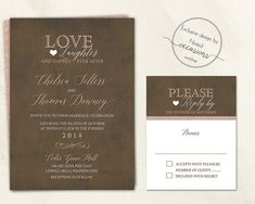Industrial wedding set hot off the presses. This industrial chic wedding suite is designed on a vintage background with rose gold accents and handwritten script. A twist on the love, laughter and happily ever after theme with modern design elements. Great for urban weddings, rustic chic weddings, industrial chic weddings and so much more.