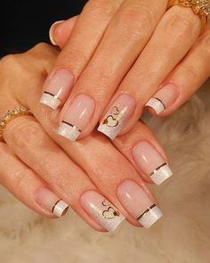 Nail care is very important because : Nails problems may indicate problems with your heart, lungs, kidneys… Here you will find the steps to keep your nails look and feel best. French Acrylic Nails, Cute Acrylic Nails, Cute Nails, Pretty Nails, Valentine's Day Nail Designs, French Nail Designs, Shellac Nails Fall, Hello Nails, Clear Glitter Nails