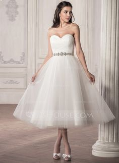 A-Line/Princess Sweetheart Tea-Length Satin Tulle Wedding Dress With Ruffle Beading Sequins (002058769)