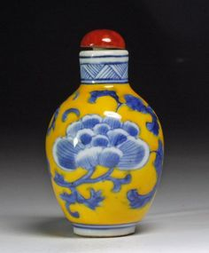 Chinese Porcelain Snuff Bottle - Yellow And Blue
