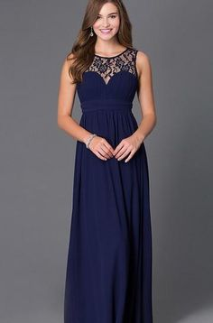 Affordable floor length chiffon Navy Bridesmaid Dress