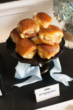 Baby Shower Food Ideas: Hot Ham + Swiss Sandwiches! Great finger food.