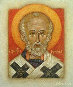 Nicholas the Wonderworker Small Icons, Byzantine Art, Saint Nicholas, Art Icon, Orthodox Icons, Father Christmas, Sacred Art, Saints, Religion