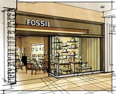 color sketches by jonathan knodell at coroflot com Interior Design Sketches, Interior Rendering, Sketch Design, Croquis Architecture, Architecture Design, Retail Concepts, Environmental Design, Presentation Design, Retail Design
