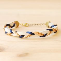 Leather & Brass Braided Bracelet in Navy and Coral by sonofasailor, $28.00