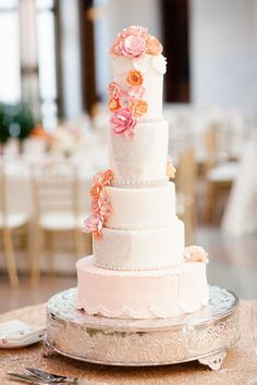 Wedding Cake -- See more on  http://www.StyleMePretty.com/midwest-weddings/2014/04/04/classic-blush-peach-ohio-statehouse-wedding/ Photography: AmandaWilcher.com -- Cake: JanKishLaPetiteFleur.com