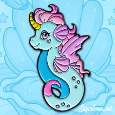 Every mermaid needs a companions~ give this lil sea unicorn a home and they'll keep you company throughout all your days under the sea.    ♥ 1 1/2 inches tall  ♥ Made from high quality, black soft enamel!  ♥ Backed with two rubber clutches