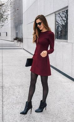 124 newest christmas outfits ideas - what to wear to a holiday party - page 29 Source by anggiem Outfit ideas Mode Outfits, Office Outfits, Dress Outfits, Fall Outfits, Casual Outfits, Burgundy Dress Outfit, Dress And Tights Outfit, Outfits With Tights, Winter Office Outfit