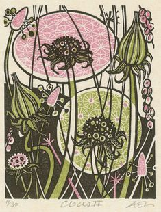 Angie Lewin is a printmaker who produces gorgeous multi coloured prints using wood engraving, linocut, silkscreen, lithograph and collage printmaking techniques. Angie Lewin, Linoprint, Coq, Wood Engraving, Gravure, Flower Art, Printmaking, Screen Printing, Print Patterns