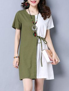 Buy Vintage Women Short Sleeve Patchwork O-Neck Loose Dresses online with cheap prices and discover fashion Dresses,Vintage Dresses at Inst… Women's Dresses, Dresses Online, Fashion Dresses, Loose Dresses, Shift Dresses, Cheap Dresses, Shift Dress Outfit, Sleeveless Dresses, Dance Dresses