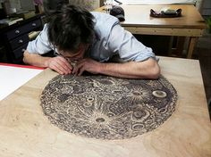 Tugboat Printshop's 'THE MOON' woodblock print.