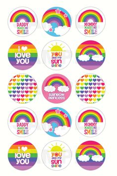 INSTANT DOWNLOAD Rainbow Bottle Cap Images 4x6 por DigiPrintz