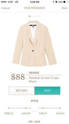 Could use a light blazer in a neutral color