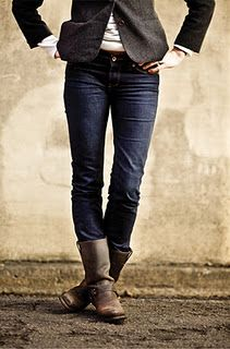 Frye Harness Boots...I would add something ultra feminine to balance it off, but Love the look