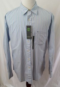 #thesmartshoppe #TIMBERLAND New Mens Large Blue Cream Striped 100% Cotton Long Sleeve Shirt #Timberland #ButtonFront