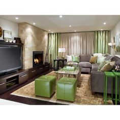 Candace Olsen.. I <3 her! Divine Design Basement - fireplace & TV layout / sectional sofa