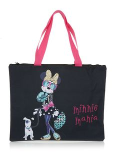 Minnie Mouse bag   This black Minnie Mouse bag with a very fashionable Minnie Mouse on the front with pink handles is a stunning bag that is not only cool but also practical to wear! Your child will never lose any of their items if they are kept in such a great bag.