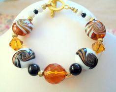 Mint Candy Swirl Glass Bead Bracelet by joyceshafer on Etsy