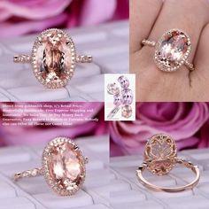 Oval Morganite Engagement Ring Pave Diamond 14K Rose Gold Milgrain Under Gallery Elongated 10x14mm