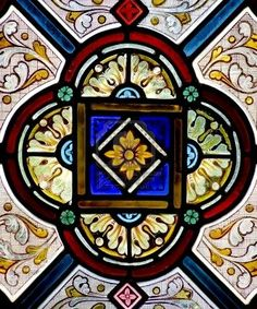 Stained Glass- we have patterns like this in my church- must have been a late 1800s style.