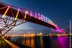 Corpus Christi Harbor Bridge lit at sunset