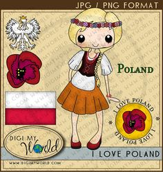 Items similar to Poland Polish tween girl and boy, flower, national crest clipart graphics on Etsy