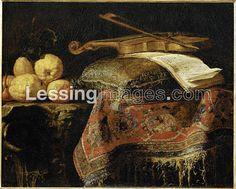 Fieravino,Francesco (known 1650-80) Nature Morte:cedrats et violon - Still-life:lemons and violin. Canvas,72 x 93 cm I Louvre, Departement Des Peintures, Paris, France