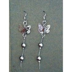 Steel butterfly long earrings