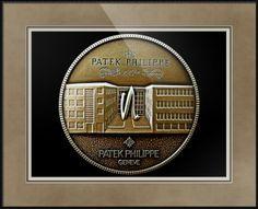 "Patek Philippe Geneve Commemorative Medal Coin (Front) // Paper: enhanced matte; Glazing: acrylic; Moulding: black, matte black basic; Top Mat: black/gray, dusk; Middle Mat: brown, chestnut brown; Bottom Mat: tan, seaside // Price starts at $139 (Petite: 17.75"" x 19.75""). // Customize at http://www.imagekind.com/Patek-Philippe-Geneve-PPG_art?IMID=5cad76ca-2632-4430-9e1b-71f73e27c714"