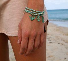 Turquoise Gemstone Star Fish Ocean bracelet 14k by FloridianOcean