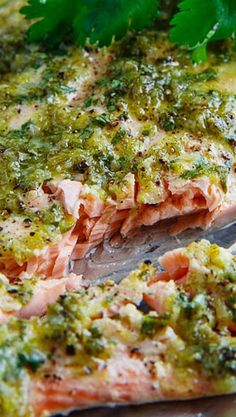 I love cilantro and lime, so I should love this recipe! Cilantro and Lime Salmon // fresh, zesty, low carb, high protein Think Food, I Love Food, Food For Thought, Good Food, Yummy Food, Tasty, Fish Recipes, Seafood Recipes, Cooking Recipes