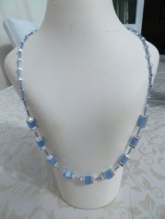 Blue cube/crystal rondelle necklace by JewelInfinityBeyond on Etsy