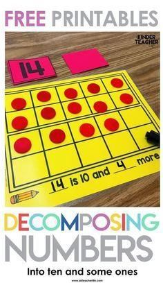Decomposing Teen Numbers Free decomposing numbers into ten and some ones activity. Students pick a number card, build the number using objects and write an equation or number sentence. This is a perfect math center activity! Numbers Kindergarten, Kindergarten Math Activities, Fun Math, Preschool, Math Math, Math Resources, Teaching Teen Numbers, Homeschool Math, Student Teaching