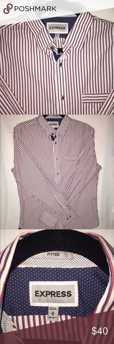 Express men's button down Red, navy blue and white long sleeve button down for men by express size medium in great condition Express Shirts Dress Shirts