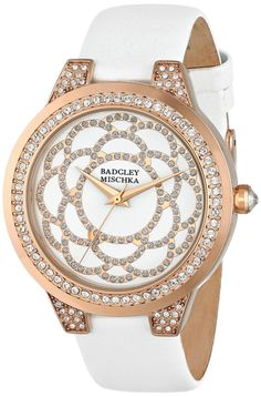 women's watches:  Shop online for Badgley Mischka Women's BA/1330WTRG [Amazon Exclusive] Swarovski Crystal Accented Rose Gold-Tone White Leather Strap Watch
