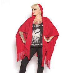Rib Knit Hooded Wrap Red, $35, now featured on Fab.