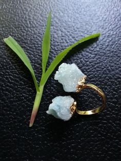 SALE WAS 115.00 Druzy Ring, Spirit Quartz Druzy, Cactus Quartz, Adjustable Ring, Gold Ring, Blue Ring, Gold Aquamarine Blue Druzy Ring