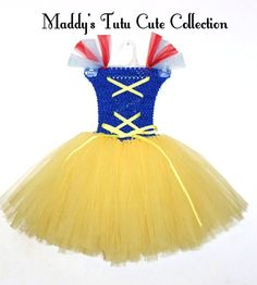 Snow White Tutu Dress Costume with red ribbon for by MTCCollection, $29.99