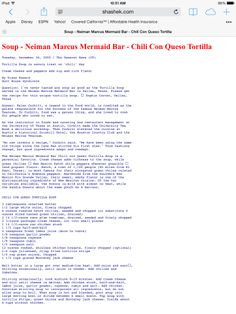 Neiman Marcus Chili Con Queso Tortilla Soup: This is the legit recipe by Helen Corbitt of Neiman Marcus fame! Follow recipe exactly.