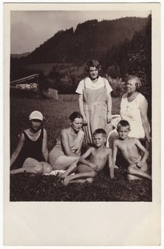 Woman with some blind people in swimwear. Antique austrian photo, 1930's.