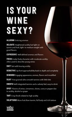 Is your wine sexy? Now you'll know how to talk about and describes the wines you're in love with.